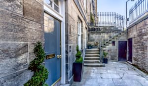 Entrance to a refurbished listed basement flat, Edinburgh New Town:  Front doors by Capital A Architecture