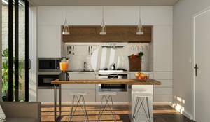 Dapur & Ruang Makan: Unit dapur oleh Maxima Studio Medan Interior Design & Arsitek, Minimalis Kayu Wood effect