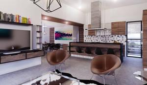 Residencia PC [León, Gto.]: Salas de estilo  por 3C Arquitectos S.A. de C.V.