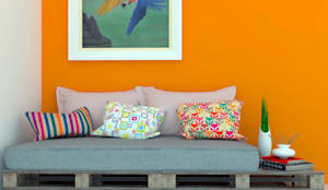 Sofá em Pallet: Salas de estar rústicas por Jéssika Martins Design de Interiores