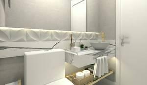 Perspectiva Lavabo: Banheiros  por Letícia Saldanha Arquitetura