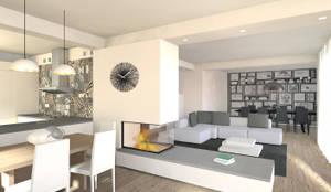 cucina open space: Sala da pranzo in stile in stile Moderno di Flavia Benigni Architetto
