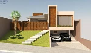 Fachada frontal: Casas familiares  por Daniela Ponsoni Arquitetura