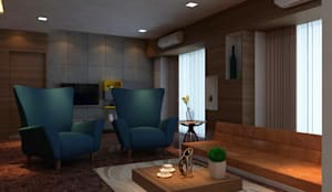 Pune Residence:  Living room by DesignTechSolutions