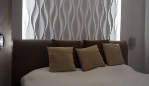 Fesselnd Schlafzimmer Wandgestaltung Mit 3D Effekt Und Betonlook
