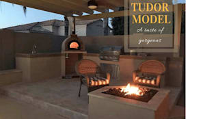 Wood-fired European pizza oven - OUTDOOR KITCHEN:  Patios & Decks by Dome Ovens®, Mediterranean
