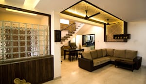 Living Area: modern Living room by M/s Studio7 Architects