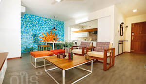 The Rising Sun Apartment: eclectic Living room by S Squared Architects Pvt Ltd
