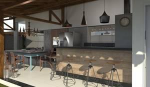Espaço gourmet: Casas industriais por AT arquitetos
