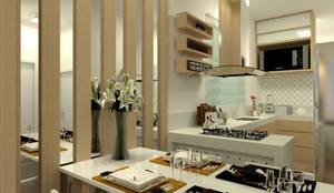 Vista da Cozinha Integrada: Salas de jantar  por Multiplanos Arquitetura