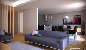 casa I_vista da sala comum : Salas de estar minimalistas por Emprofeira - empresa de projectos da Feira, Lda.