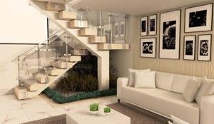 Escada revestida em mármore: Escadas  por Janete Krueger Arquitetura e Design