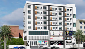 3D Elevation of Commercial cum Residential Building:  Multi-Family house by Cfolios Design And Construction Solutions Pvt Ltd