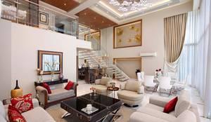 Sand Dunes Pent House : modern Living room by Mahesh Punjabi Associates