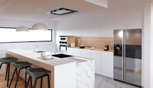 Habitação M&S: Armários de cozinha  por Fabio Pereira & João Fraga, Arquitetos