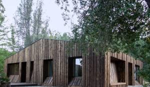 Casa envuelta en madera: Casas de madera de estilo  por Crescente Böhme Arquitectos