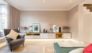 Living room with eclectic mix of furnishings : minimalistic Living room by Timothy James Interiors