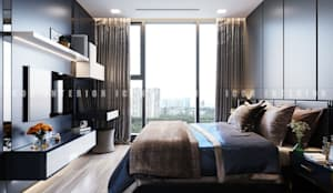 Aqua 3 Vinhomes Golden River - Phong cách hiện đại:  Phòng ngủ by ICON INTERIOR