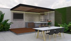 Terraza tipo para casa 200: Casas unifamiliares de estilo  por A. C. Arquitectura y diseño