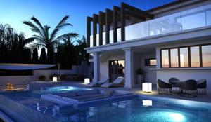 Exterior y piscina de noche: Casas de estilo  de Pacheco & Asociados
