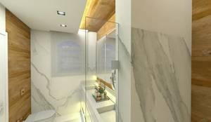 Banho casal: Banheiros  por Letícia Saldanha Arquitetura