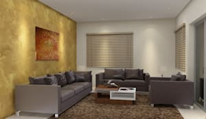 Drawing room design with a wall paper:  Living room by Rhythm  And Emphasis Design Studio