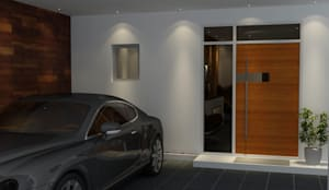 Main door design for a villa :  Garage/shed by Rhythm  And Emphasis Design Studio