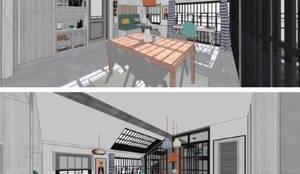 Comedor + Salón + Cocina + Estudio: Comedores de estilo  de RR Estudio Interiorismo