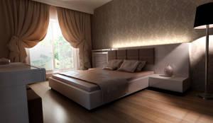 HEBART MİMARLIK DEKORASYON HZMT.LTD.ŞTİ. – Sinpaş lagün İris bahçe: modern tarz Yatak Odası