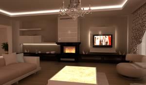 HEBART MİMARLIK DEKORASYON HZMT.LTD.ŞTİ. – Sinpaş lagün İris tip villa iç dekorasyonu: modern tarz Oturma Odası