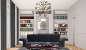 Progetto di ristrutturazione di un appartamento, Londra: Soggiorno in stile  di architetto stefano ghiretti