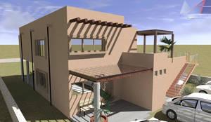 Porche de acceso a casa en Planta Baja (Fachada Principal): Terrazas de estilo  por Arq. Máximo Alvarado Bravo