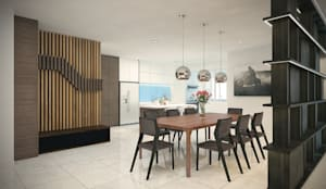Subang Parkhomes: tropical Dining room by Yucas Design & Build Sdn. Bhd.