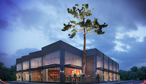 Fachada esquina: Edifícios comerciais  por Rodrigo Santos Arquitetura