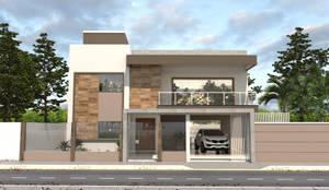 Edificação Residencial - Fachada Frontal: Casas familiares  por AT arquitetos