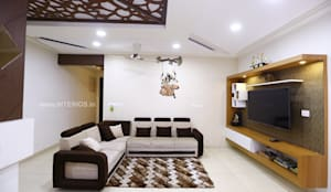 Elegant 3BHK Interior Design at Prestige Bella Vista:  Living room by Interios by MK Design,