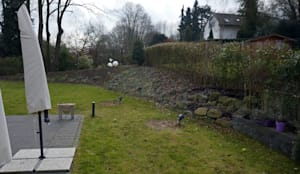 Vorher: Blick vom Haus in den Garten:  Garten von Terramanus Landschaftsarchitektur