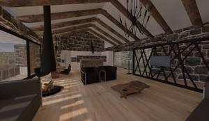 LEYLA ERCAN MİMARLIK – ÖZCAN EVİ: kırsal tarz tarz Oturma Odası