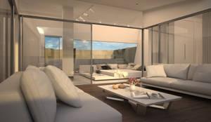 Diseño del proyecto de una vivienda moderna:  Santa María 23: Salones de estilo moderno de AVANTUM