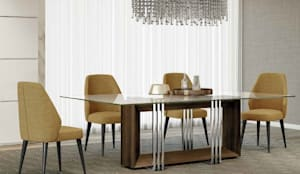 Mesa pé madeira: Salas de jantar  por CRISTINA AFONSO, Design de Interiores, uNIP. Lda