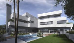 Fachada principal desde jardín: Casas unifamilares de estilo  de ARQZONE 3D+Design Studio
