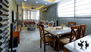 Living room with Dining Area: modern Living room by shritee ashish & associates