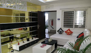 Mr Surajit Aparna cyberzone 3bhk : modern Living room by Enrich Interiors & Decors
