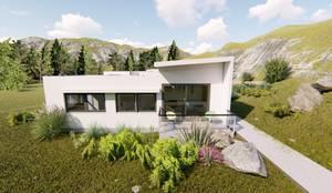 fachada principal: Casas unifamiliares de estilo  por Ekeko arquitectura