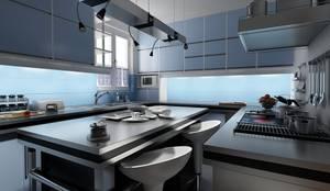 :  مطبخ ذو قطع مدمجة تنفيذ  ADAWY architects