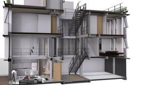 Corte Fugado de Edificación Quechuas: Recámaras de estilo  por Designo Arquitectos