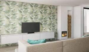 Zona de Tv e lareira: Salas de estar mediterrânicas por Alma Braguesa Furniture
