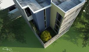 Fachada posterior : Casas de estilo  por GT-R Arquitectos