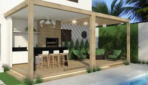 ÁREA EXTERNA - LAZER: Piscinas de jardim  por CASA DUE ARQUITETURA