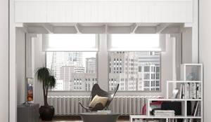 """Letto a Soppalco """"Rising"""" - Camera da letto e soggiorno nella stessa stanza: Camera da letto in stile in stile Scandinavo di cinius s.r.l."""